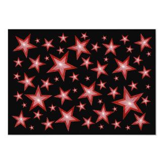 "Red Stars invitation black 5"" X 7"" Invitation Card"
