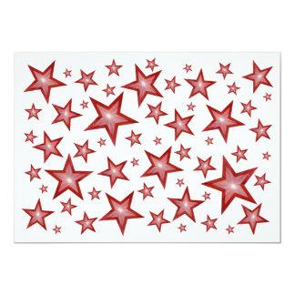 "Red Stars invitation white 5"" X 7"" Invitation Card"