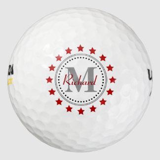 Red Stars Monogram Golf Balls