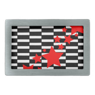 Red Stars on Black and White Belt Buckle