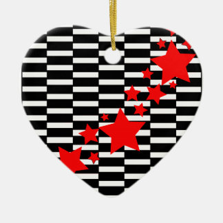 Red Stars on Black and White Ceramic Ornament