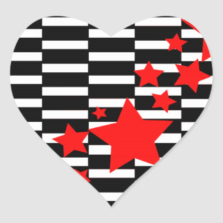 Red Stars on Black and White Heart Sticker