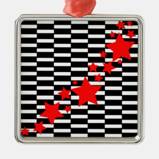 Red Stars on Black and White Metal Ornament