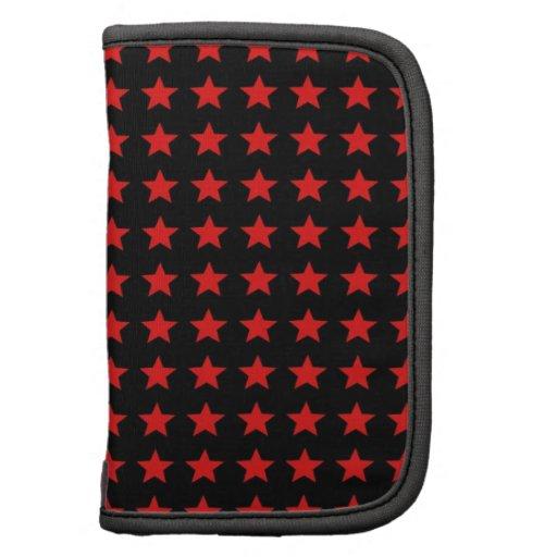 red stars on black folio planner