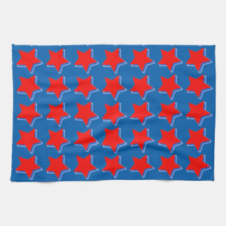 Red Stars on Blue Background on Hand/Kitchen Towel