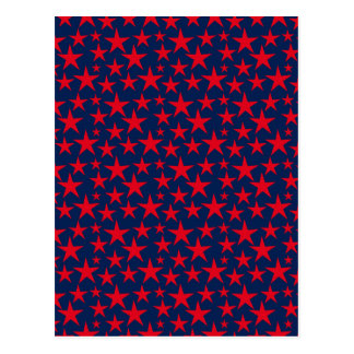 Red stars on blue greeting card