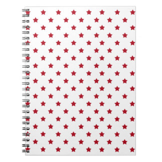 Red Stars on White Spiral Notebook