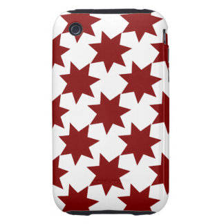 Red Stars Quilt Pattern Primitive Theme Tough iPhone 3 Cover