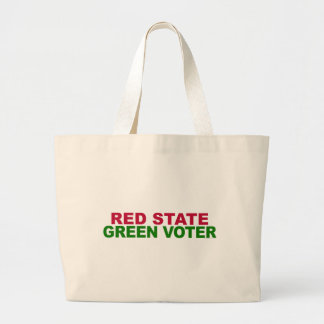 Red State, Green Voter Large Tote Bag