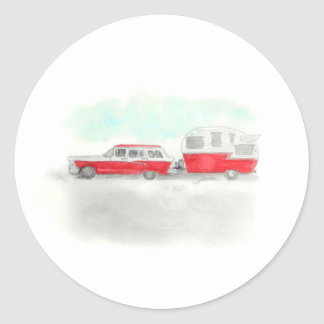 Red Stationwagon and Camper Classic Round Sticker