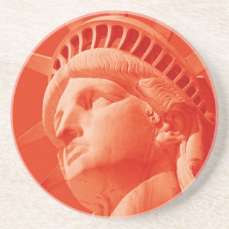 Red Statue of Liberty Drink Coaster