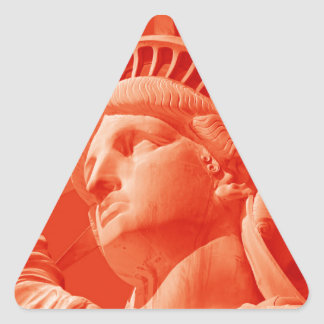Red Statue of Liberty Triangle Sticker