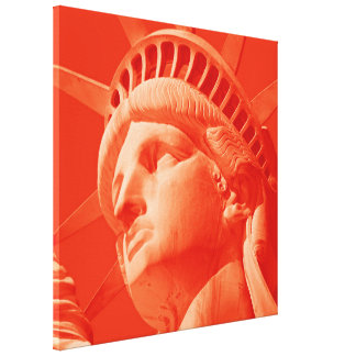 Red Statue of Liberty Wrapped Canvas Canvas Print