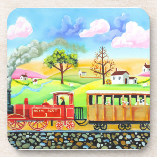 Red steam train naive folk art painting drink coaster