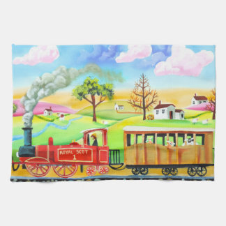 Red steam train naive folk art painting hand towel