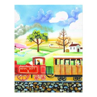 Red steam train naive folk art painting letterhead