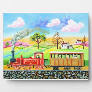 Red steam train naive folk art painting plaque