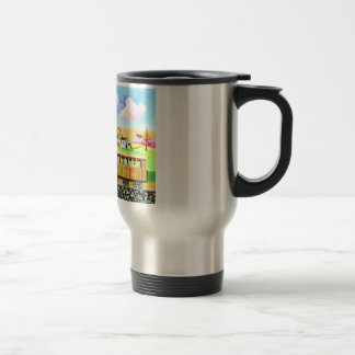 Red steam train naive folk art painting travel mug
