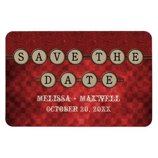Red Steampunk Keys Save the Date Flexi Magnet