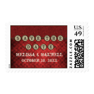 Red Steampunk Keys Save the Date Stamps