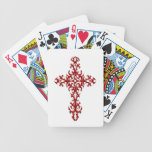 Red Steel Gothic Cross on White Deck Of Cards