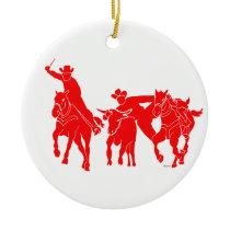 Red Steer Wrestler Ceramic Ornament