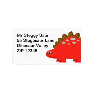 Red Stegosaurus Address Labels