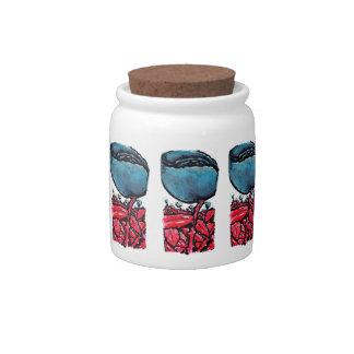Red Stemmed Blue Roses Field Candy Jar