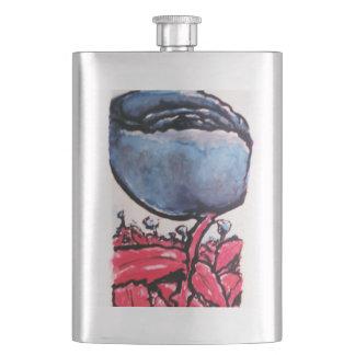 Red-stemmed blue roses flask