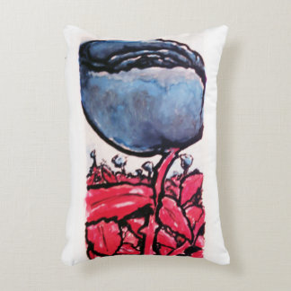 Red-stemmed blue roses pillow accent pillow