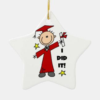 Red Stick Figure Boy Graduate Ornament