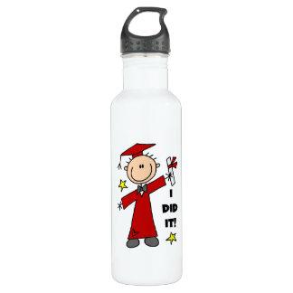 Red Stick Figure Boy Graduate 24oz Water Bottle