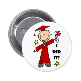 Red Stick Figure Boy Graduate Pinback Button