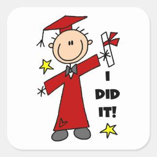 Red Stick Figure Boy Graduate Square Stickers