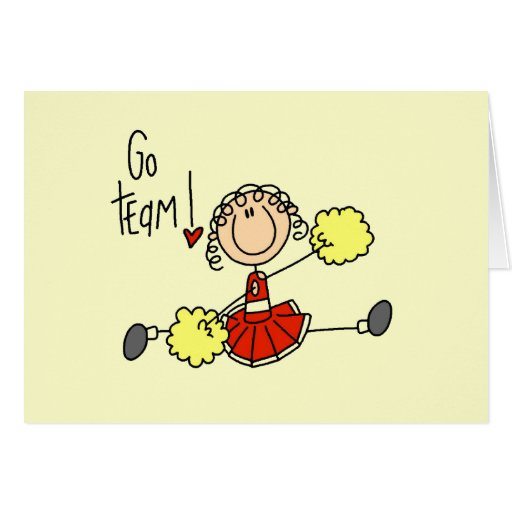 Red Stick Figure Cheerleader t-shirts and Gifts Stationery Note Card