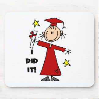 Red Stick Figure Girl Graduate Mouse Pad