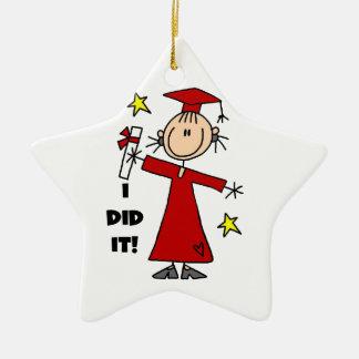 Red Stick Figure Girl Graduate Christmas Tree Ornament
