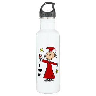 Red Stick Figure Girl Graduate 24oz Water Bottle