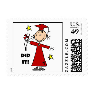Red Stick Figure Girl Graduate Postage