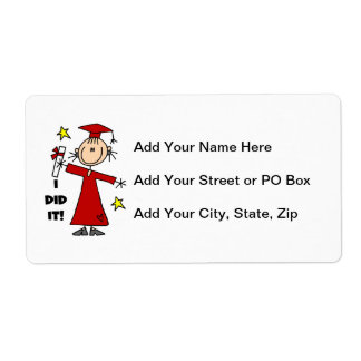 Red Stick Figure Girl Graduate Shipping Label
