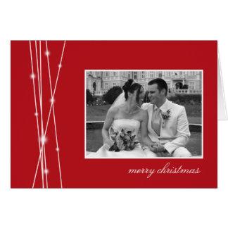 Red sticks & snow Christmas holiday photo greeting Greeting Card