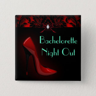 red Stiletto Bridal Shower bachelorette party Pinback Button
