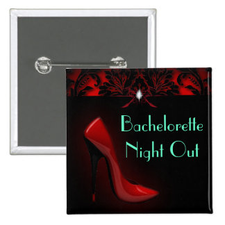 red Stiletto Bridal Shower bachelorette party Pinback Button
