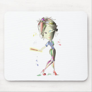 Red Stiletto Girl plays Baseball! Art Mouse Pad