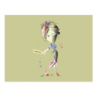 Red Stiletto Girl plays Baseball! Art Postcard