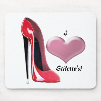 Red Stiletto High Heel Shoe Art Mouse Pad