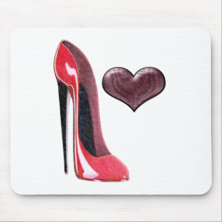 Red Stiletto Shoe and 3D Heart Design Mouse Pad
