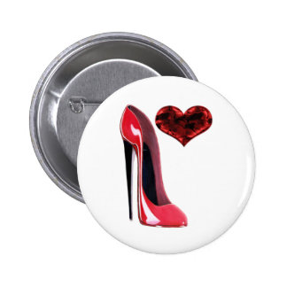 Red Stiletto Shoe and 3D Heart design Pinback Button