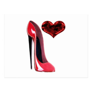Red Stiletto Shoe and 3D Heart design Postcard