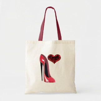 Red Stiletto Shoe and 3D Heart design Tote Bag